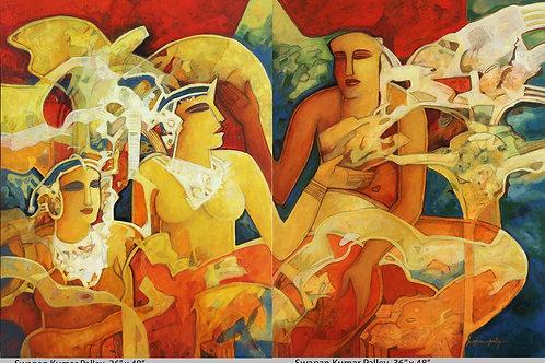 Acrylic on Canvas by Swapan Kumar Palley