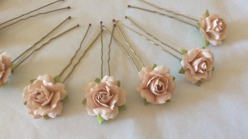 Blush Pink Paper Rose Hair pins Set of 8