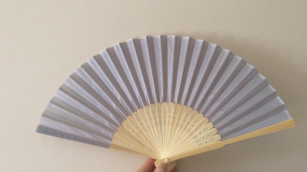 Silver Grey Silky Wooden Hand Fan