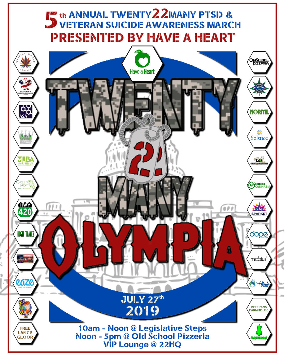 5th Annual Twenty22Many PTSD and Veteran Suicide Awareness March Poster