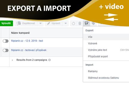 Jak nahrát (importovat) kampaně z jednoho účtu na druhý, a to i v případech zablokovaných účtů?