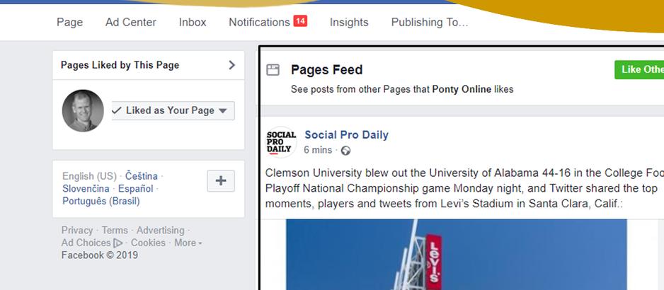 Kde nyní najdu kanál příspěvků firem, kterým jsem dal like svou FB stránkou?