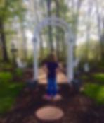 A child gazes at the Memorial Garden