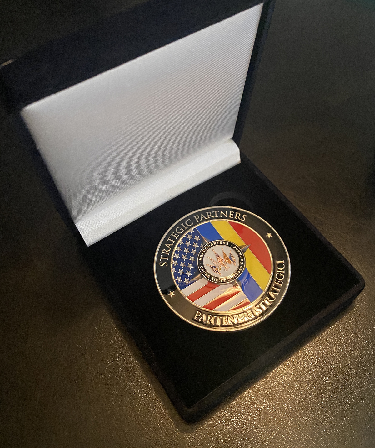 Eucom Romania coin in case