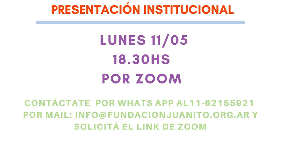 ¡¡Te invitamos al próximo encuentro institucional por Zoom!!