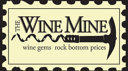 "Our logo which has borders like a stamp, our name, a ""pickscrew"" which is a pickaxe with a corkscrew at the bottom and our logo ""wine gems rock bottom prices"""