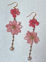 Pink Larkspur in resin, pearl, faceted pink tourmaline gold chain $60