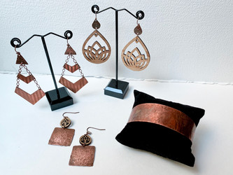 Hammered copper and laser cut bamboo