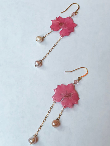 pink larkspur, freshwater pearls, gold plated chain