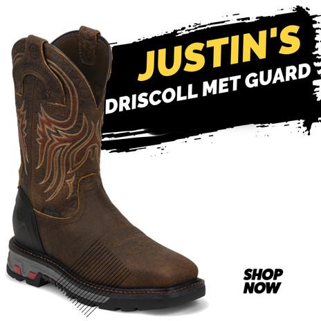Justin Men's Work Driscoll Mahogany Met Guard Steel Toe Waterproof