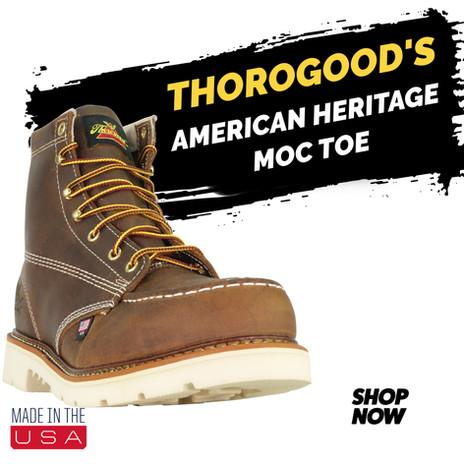 "USA MADE Thorogood 6"" American Heritage Moc Toe ST"