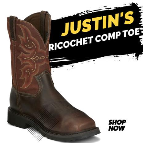 Justin Work Men's Ricochet Met Guard Water Proof Comp Toe