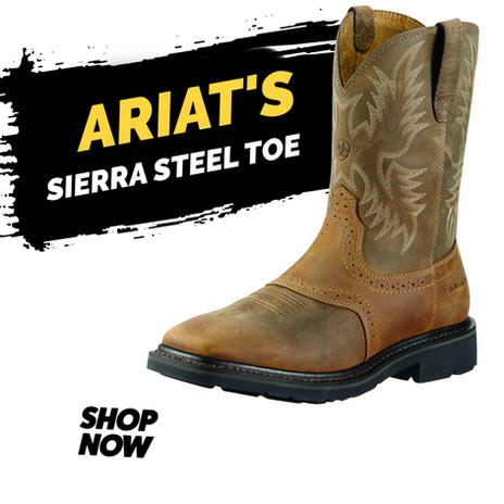 """Ariat 10"""" Sierra Wide Square Toe Steel Toe"""