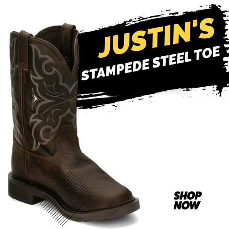 Justin Work Men's Stampede Waterproof Western Steel Toe