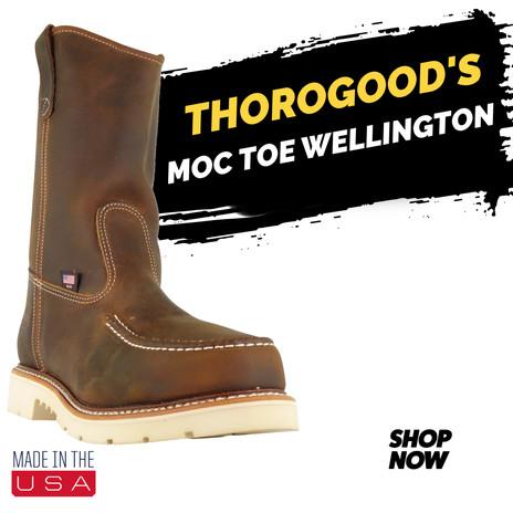 "USA MADE Men's Thorogood 11"" Steel Toe Moc Toe Wellington"