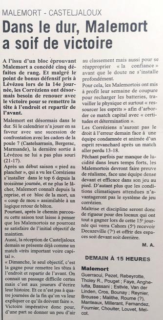 L'Echo du Centre - Malemort / Casteljaloux