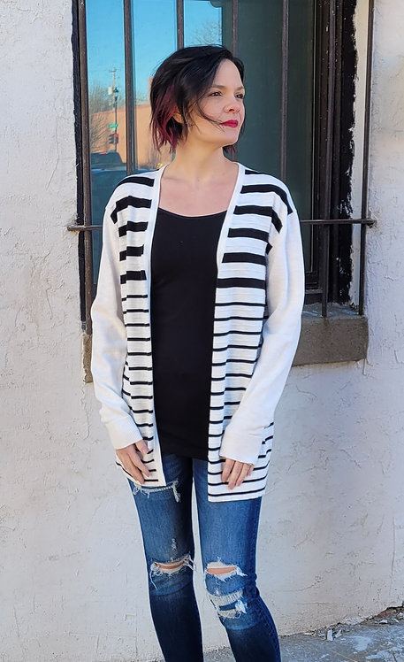 White w/ Black Stripe Cardigan