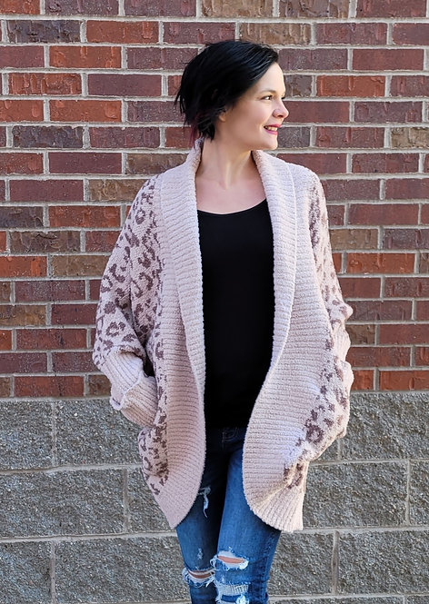 Cheetah Cozy Cardigan w/ Ribbed Edge and Cuffs