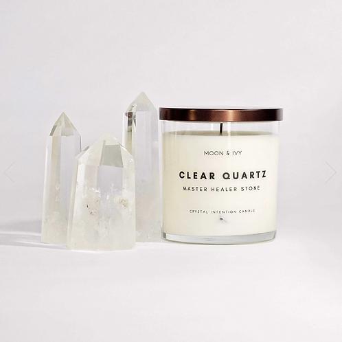 Clear Quartz Crystal Soy Wax Candle- Moon & Ivy