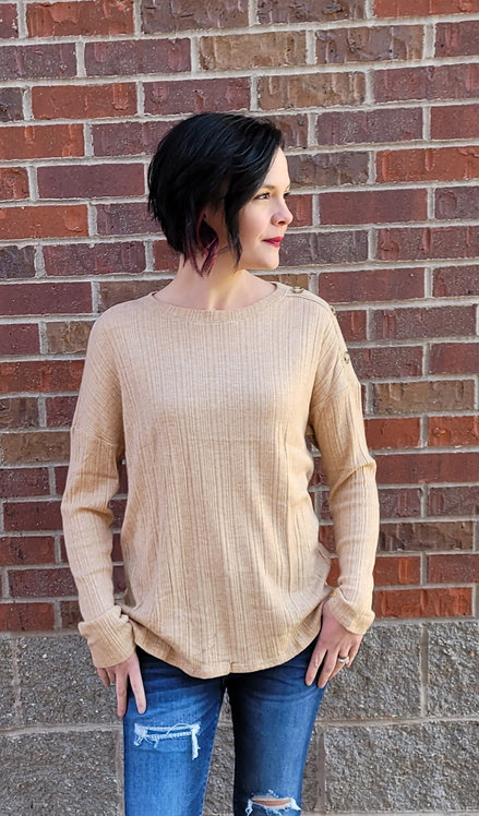 Taupe Button Sleeve Tunic
