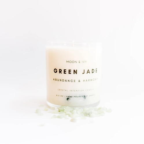 Green Jade Soy Wax Candle- Moon & Ivy