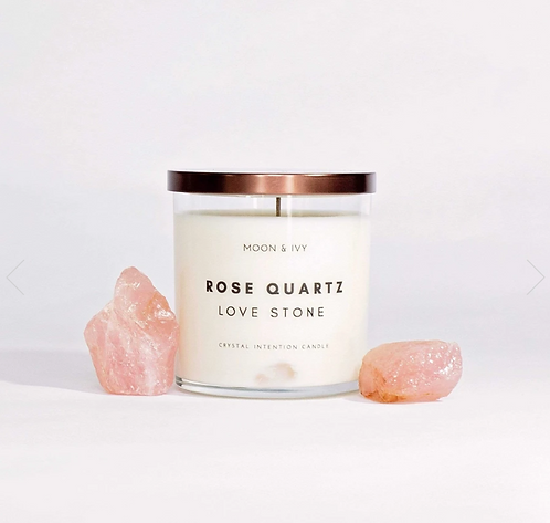 Rose Quartz Crystal Soy Wax Candle- Moon & Ivy