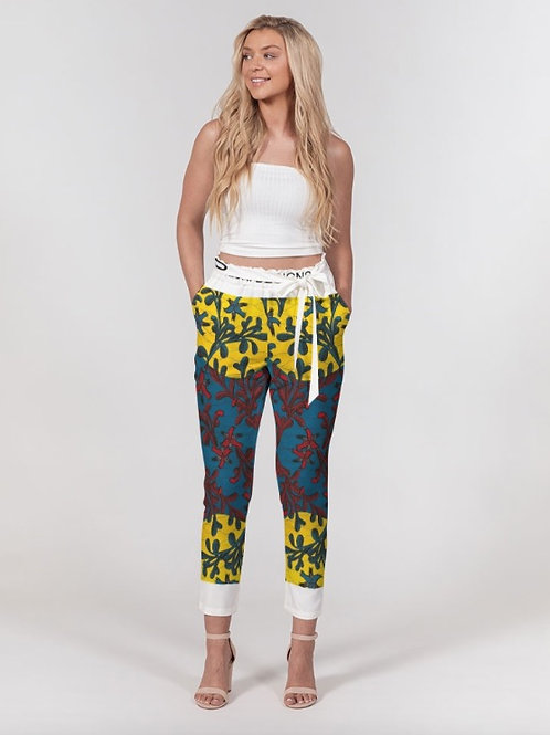 WOMEN'S BELTED TAPPERED PANTS