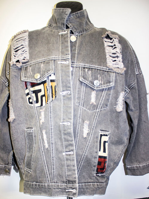 Zuri Grey Distressed denim jacket