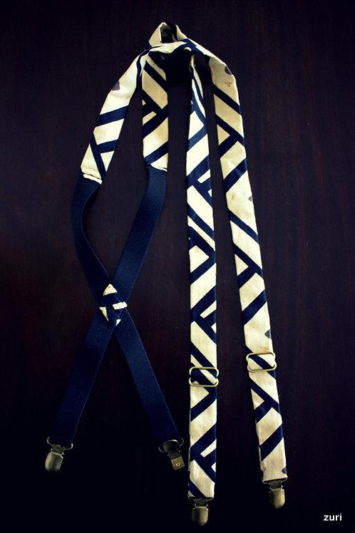 Black & white stripe suspenders