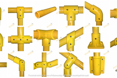 GRP tube clamps collection yellow 12 items with logo watermark overlaying