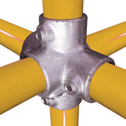4 way cross tube clamp connecting 3 yellow tubes