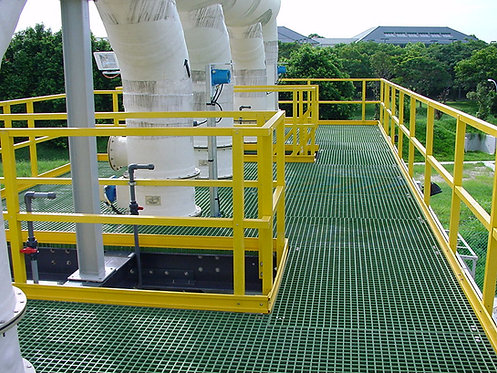 GRP Work Platforms & green walkway yellow handrail