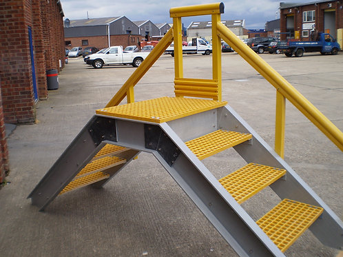 yellow and grey GRP step over access platform