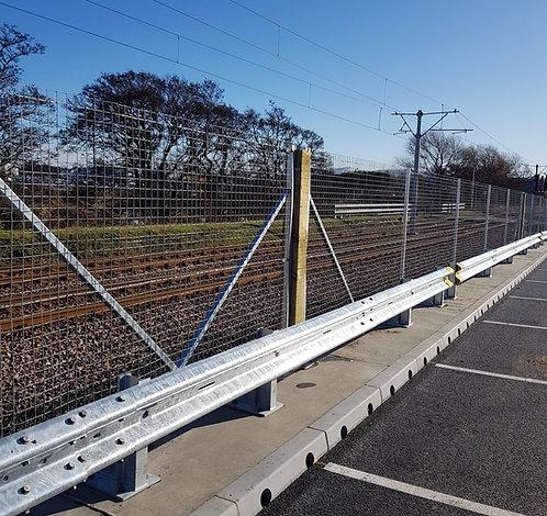crash barrier beam in a  parking lot