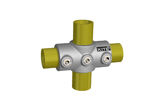 2 Socket Cross clamp connecting 2 yellow tubes