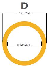 handrail tube D-size dimension diagram