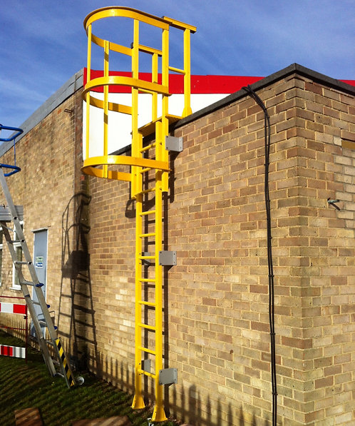 yellow Fibreglass GRP Access Ladder in-front of a brick building