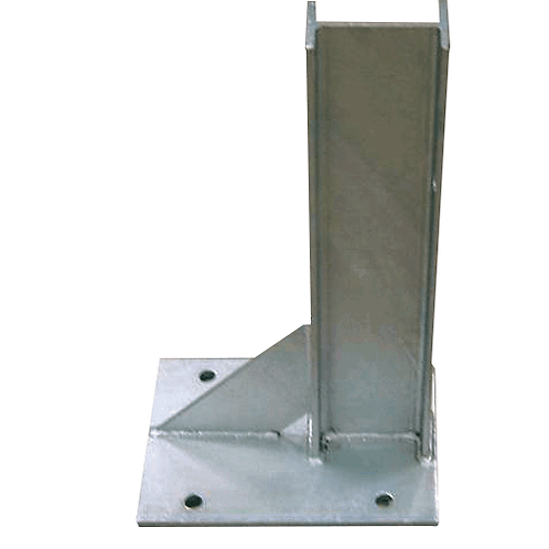 Baseplated, surface mount posts for mounting crash barrier.