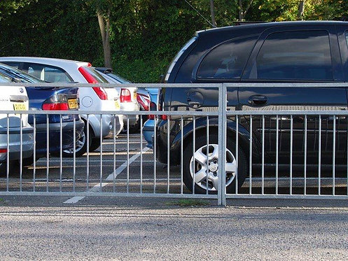 Pedestrian Guardrail Visirail parking lot cars