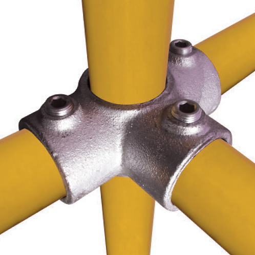 3 Way Outlet Tee connecting 4 yellow tubes
