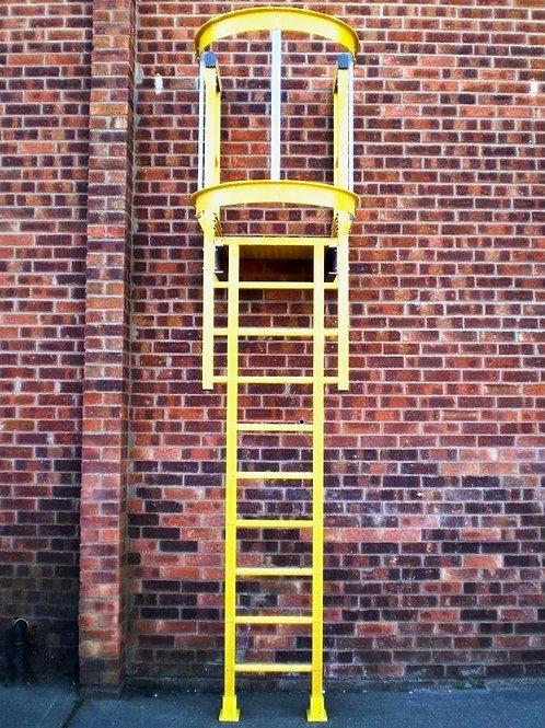 yellow Fibreglass GRP Access Ladder on brick building