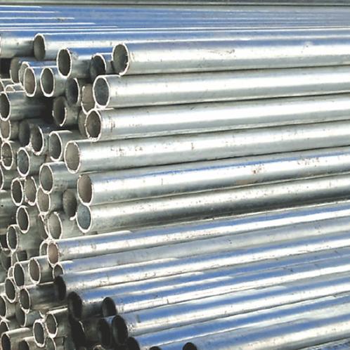 many galvanised mild steel Handrail Tubes stacked