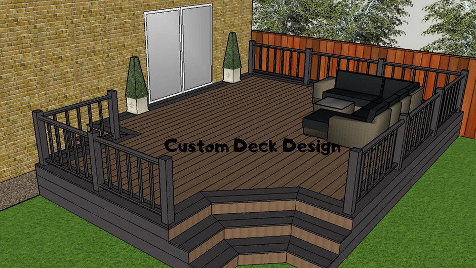This image shows a deck design usingcomposite decking.