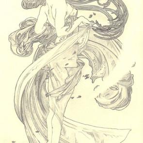 Pencil drawing: Alfons Mucha - Dance