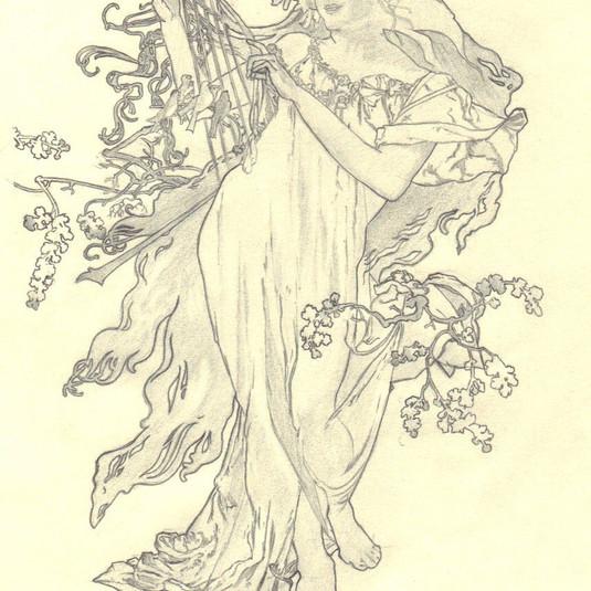 Pencil drawing: Alfons Mucha - Spring