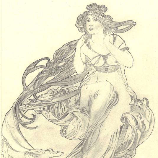 Pencil drawing: Alfons Mucha - Music