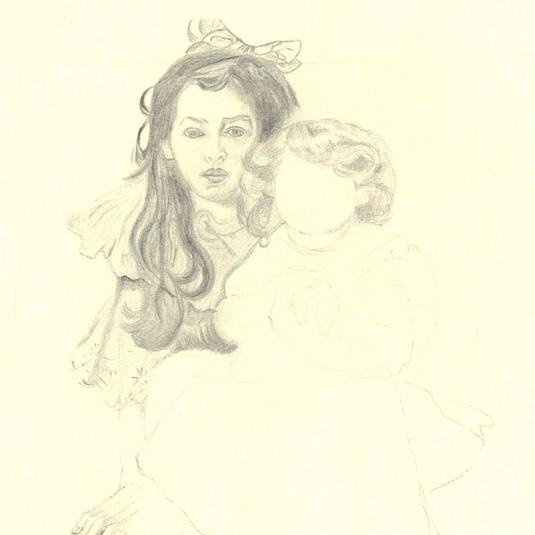 Pencil drawing: Alfons Mucha - Jaroslava and Jiří the Artist's children