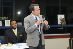 Mayor Randy Roach greets guests