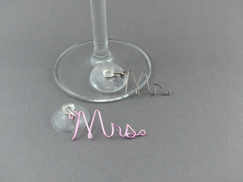 Mr & Mrs Wine Glass Charms Wedding Gift
