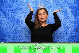 Blue Backdrop Festival Photo Booth Pose